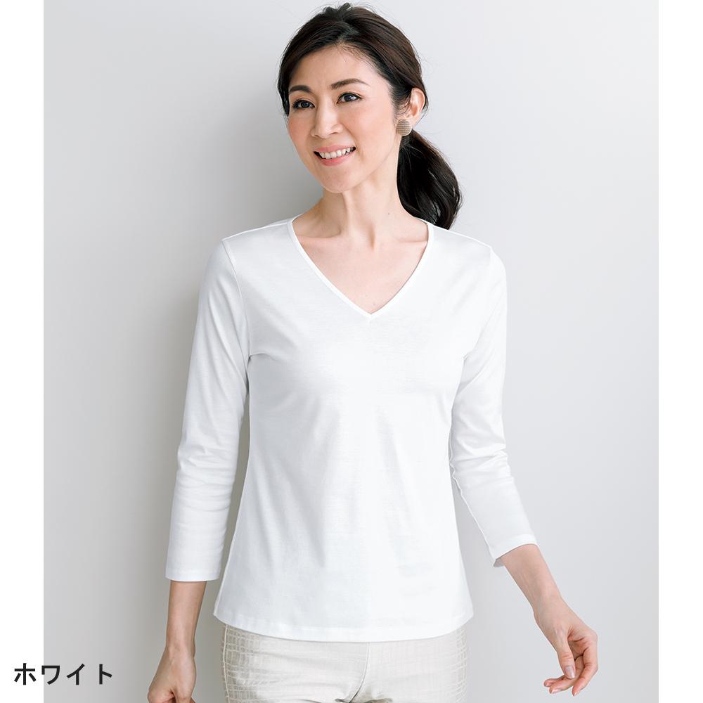 コットン素材のTシャツ Vネック七分袖